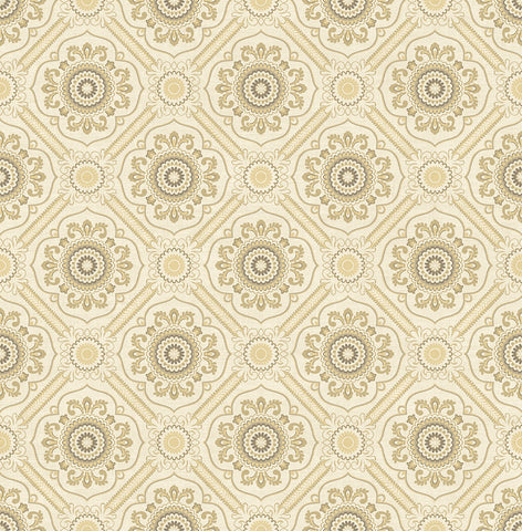 Small Floral Tile Wallpaper in Light Gold from the Caspia Collection by Wallquest