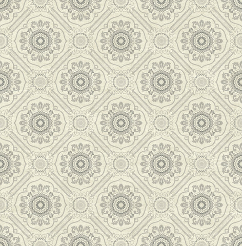 Small Floral Tile Wallpaper in Light Silver from the Caspia Collection by Wallquest