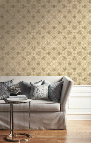 Small Floral Tile Wallpaper from the Caspia Collection by Wallquest