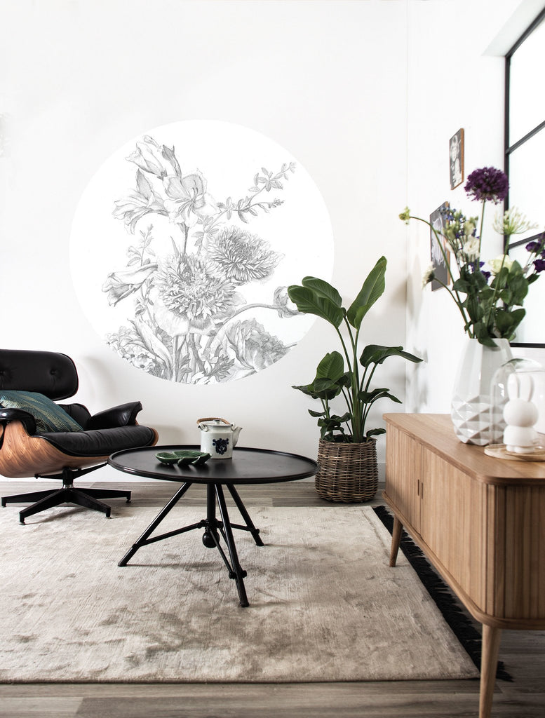 Small Wallpaper Circle in Engraved Flowers 061 by KEK Amsterdam