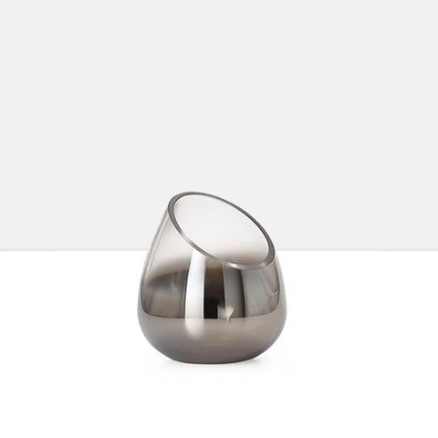 Smoke Mirror Angled Cone Vase / Candle Holder in Short