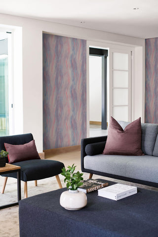 Smoke Texture Embossed Vinyl Wallpaper in Bluestone and Rosewood from the Living With Art Collection by Seabrook Wallcoverings