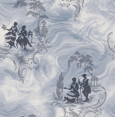 Smoke Date Wallpaper in Blueberry from the Sanctuary Collection by Mayflower Wallpaper