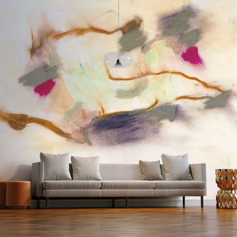 Inspired by the paintings of Cy Twombly, this wall mural collection was created to conjure a hand painting applied directly to a frescoed wall. With layers of patina in the process, it feels like a truly organic application that can be the backdrop for any dramatic interior.