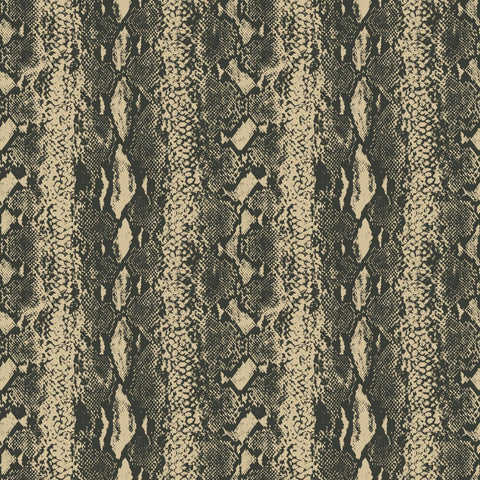 Snake Skin Peel & Stick Wallpaper in Gold and Black by RoomMates for York Wallcoverings