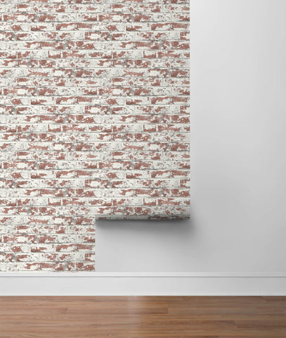 Soho Brick Peel-and-Stick Wallpaper in Terra Cotta from the Luxe Haven Collection by Lillian August