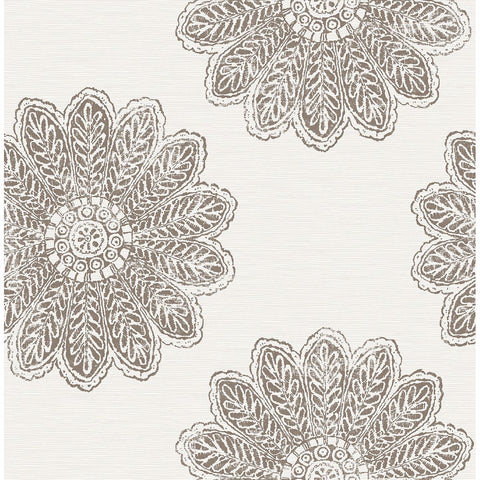 Sol Medallion Wallpaper in Espresso from the Celadon Collection by Brewster Home Fashions
