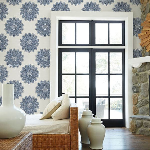 Sol Medallion Wallpaper in Indigo from the Celadon Collection by Brewster Home Fashions