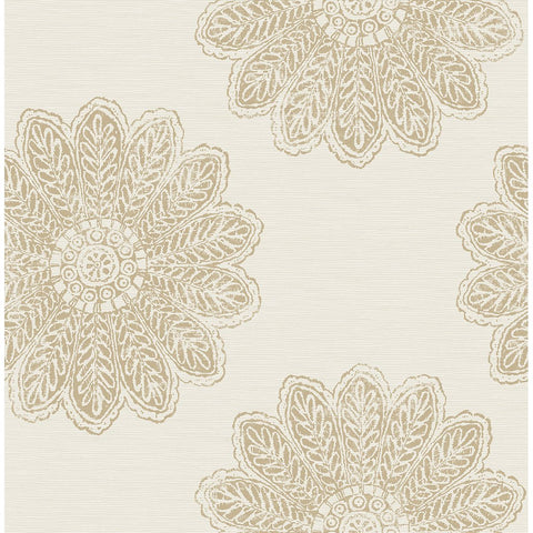 Sol Medallion Wallpaper in Light Brown from the Celadon Collection by Brewster Home Fashions