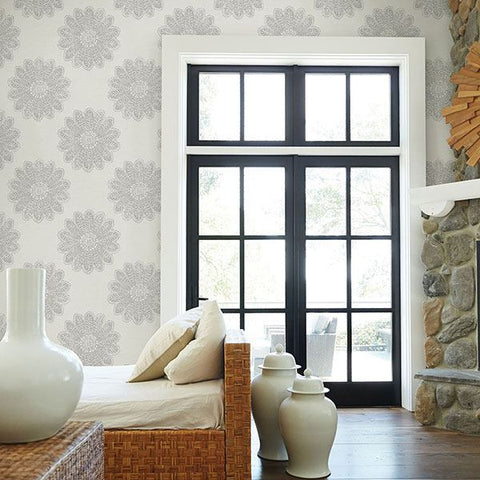 Sol Medallion Wallpaper in Light Grey from the Celadon Collection by Brewster Home Fashions