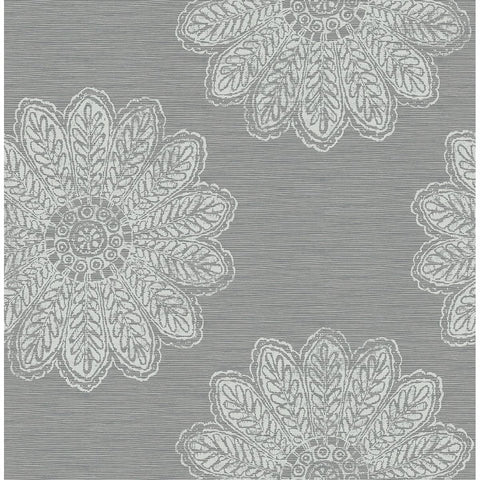 Sol Medallion Wallpaper in Slate from the Celadon Collection by Brewster Home Fashions