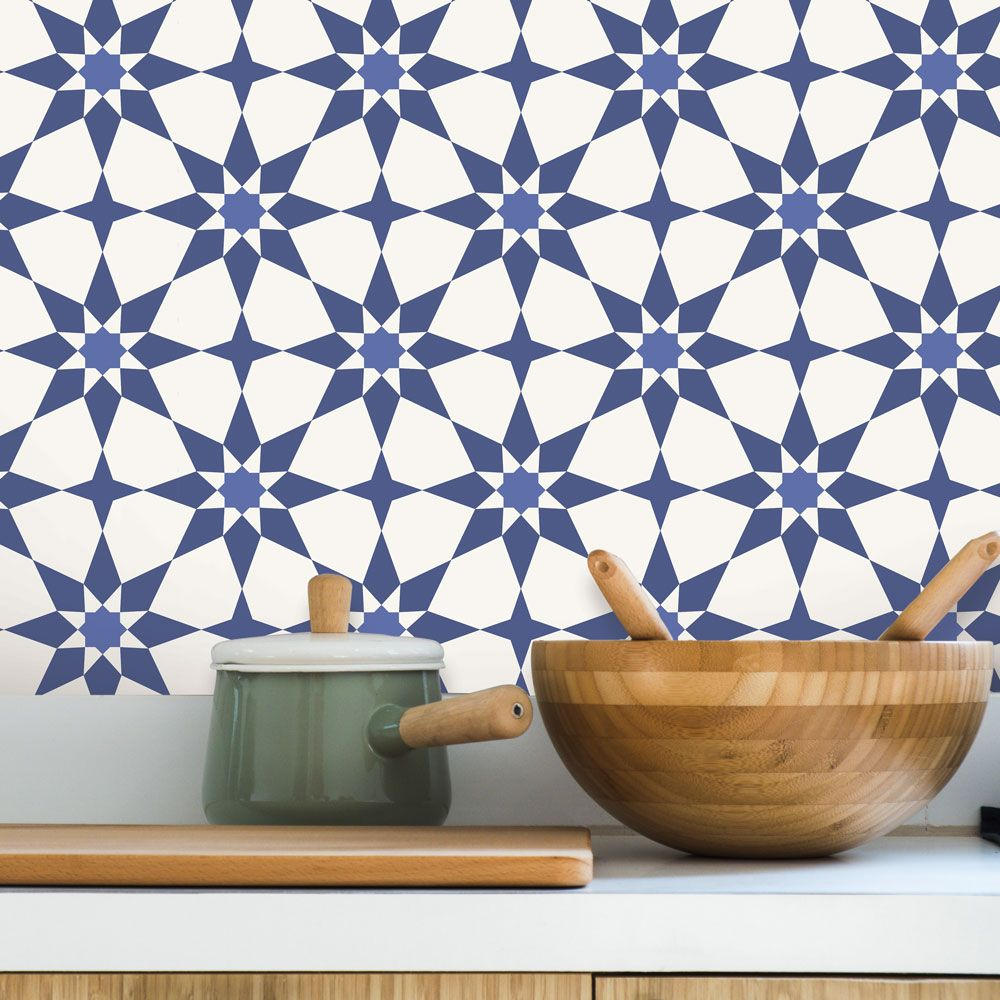 Soleil Self-Adhesive Wallpaper in Santorini Blue design by Tempaper
