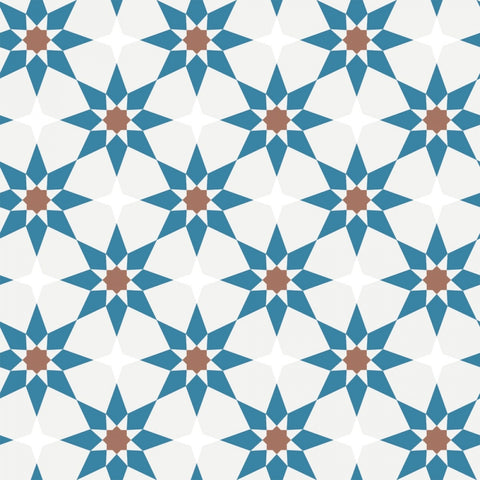 Soleil Self-Adhesive Wallpaper in Terracotta & Blue design by Tempaper