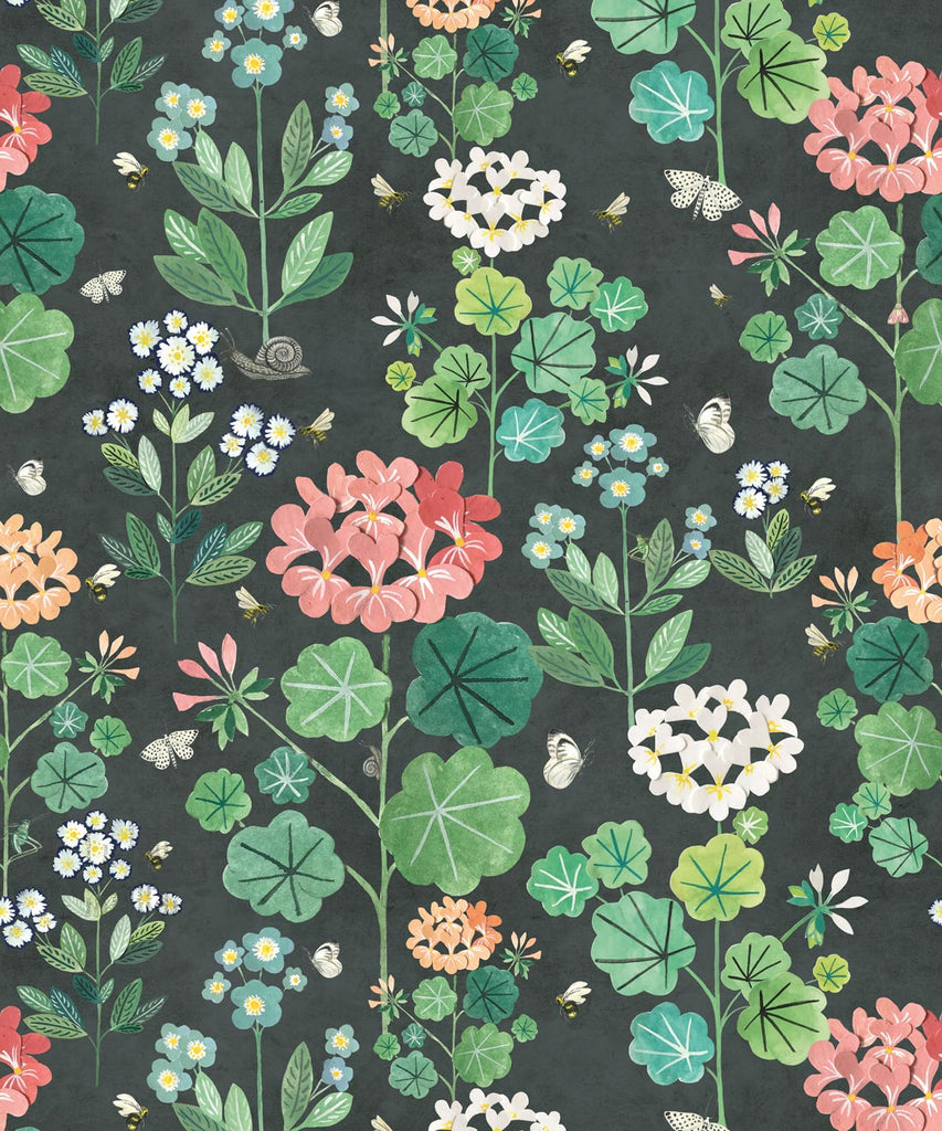 Sample Sophie's Garden Wallpaper in Charcoal by Bethany Linz for Milton & King