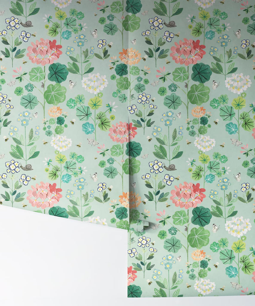 Sophie's Garden Wallpaper in Sea Spray by Bethany Linz for Milton & King