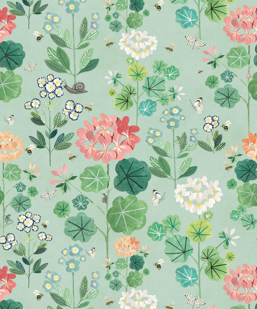 Sample Sophie's Garden Wallpaper in Sea Spray by Bethany Linz for Milton & King