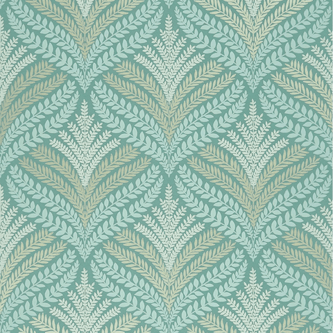 Sotherton Wallpaper in Aqua and Gilver from the Mansfield Park Collection by Osborne & Little