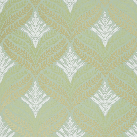 Sotherton Wallpaper in Sage and Gold from the Mansfield Park Collection by Osborne & Little
