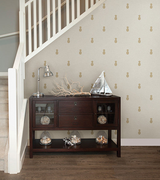 Southern Charm Beige Pineapple Wallpaper From The Seaside