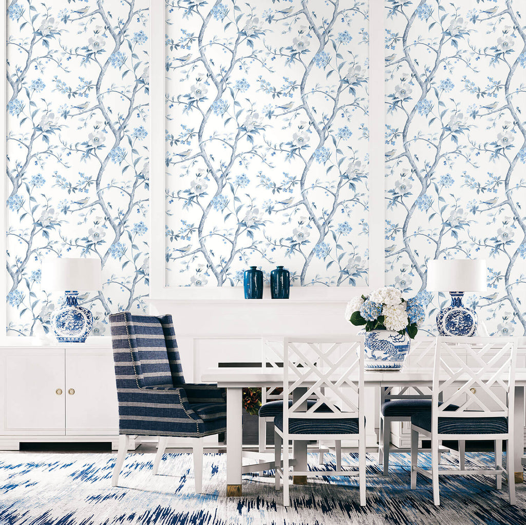 Southport Floral Trail Wallpaper in Eggshell and Blue Shale from the Luxe Retreat Collection by Seabrook Wallcoverings