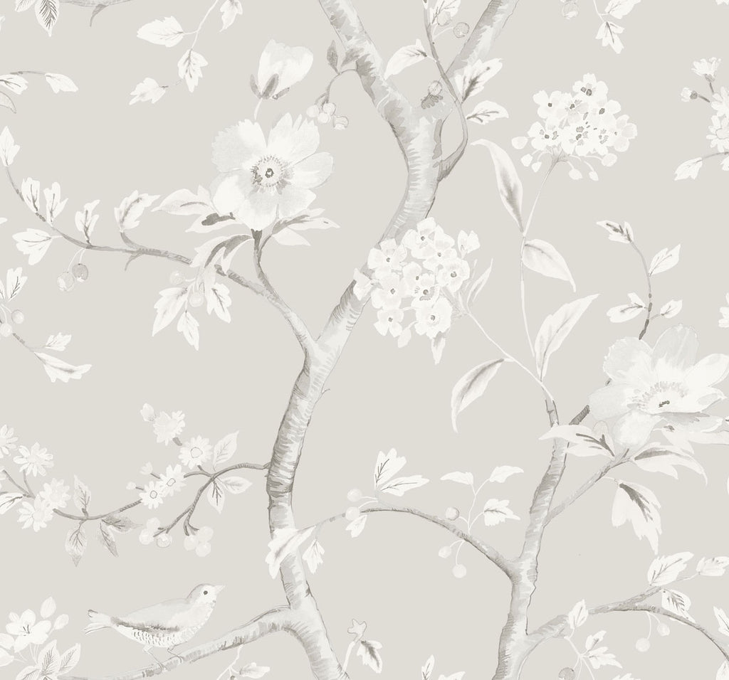 Sample Southport Floral Trail Wallpaper in Metallic Silver and Fog from the Luxe Retreat Collection by Seabrook Wallcoverings