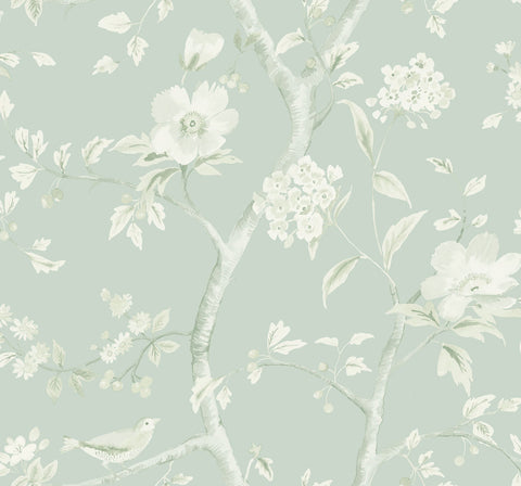 Southport Floral Trail Wallpaper in Seaglass and Ivory from the Luxe Retreat Collection by Seabrook Wallcoverings