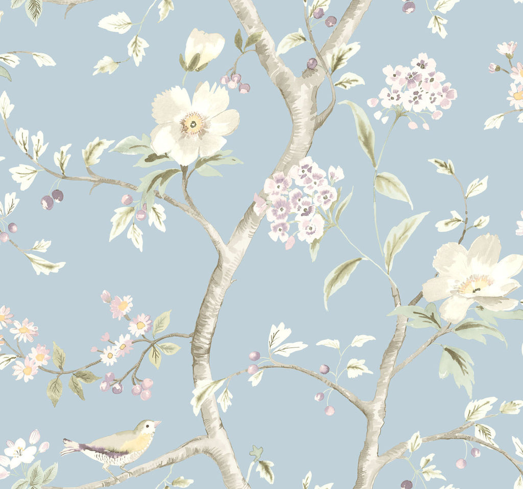 Southport Floral Trail Wallpaper in Sky Blue and Arrowroot from the Luxe Retreat Collection by Seabrook Wallcoverings