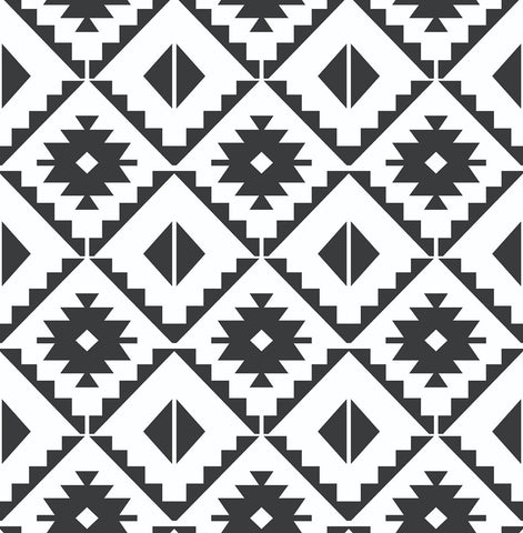 Southwest Tile Peel-and-Stick Wallpaper in Black and White by NextWall