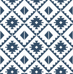 Southwest Tile Peel And Stick Wallpaper In Navy And White By Nextwall Burke Decor