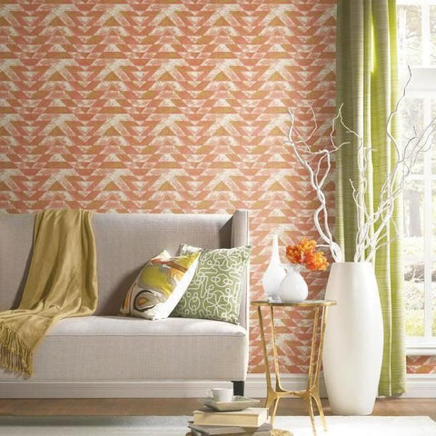 Southwest Geometric Peel & Stick Wallpaper in Terracotta by RoomMates for York Wallcoverings