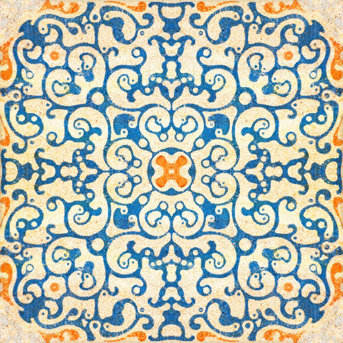 Spanish Tile Wallpaper in Blue and Orange from the Eclectic Collection by Mind the Gap