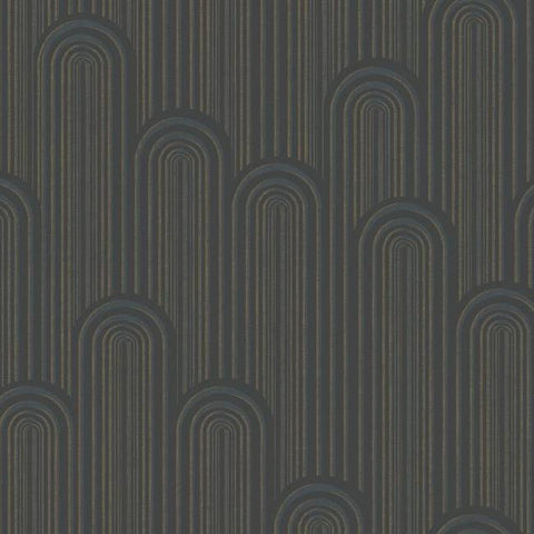 Speakeasy Wallpaper in Blacks and Metallic from the Deco Collection by Antonina Vella for York Wallcoverings