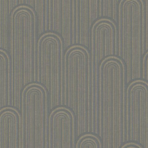 Speakeasy Wallpaper in Greys and Metallic from the Deco Collection by Antonina Vella for York Wallcoverings