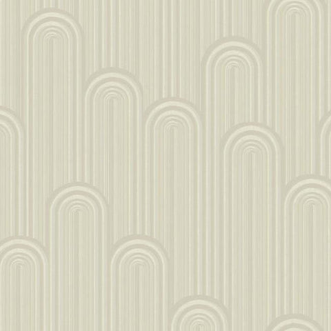 Speakeasy Wallpaper in Off-White and Metallic from the Deco Collection by Antonina Vella for York Wallcoverings