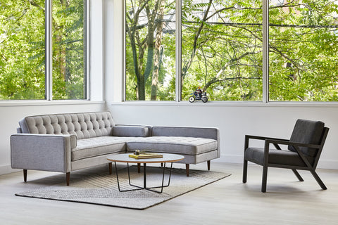 Spencer Loft Bi-Sectional w/ Stainless Steel Base in Parliament Moss design by Gus Modern
