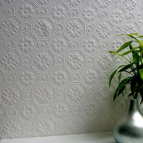 Spencer Paintable Supaglypta Wallpaper design by Brewster Home Fashions