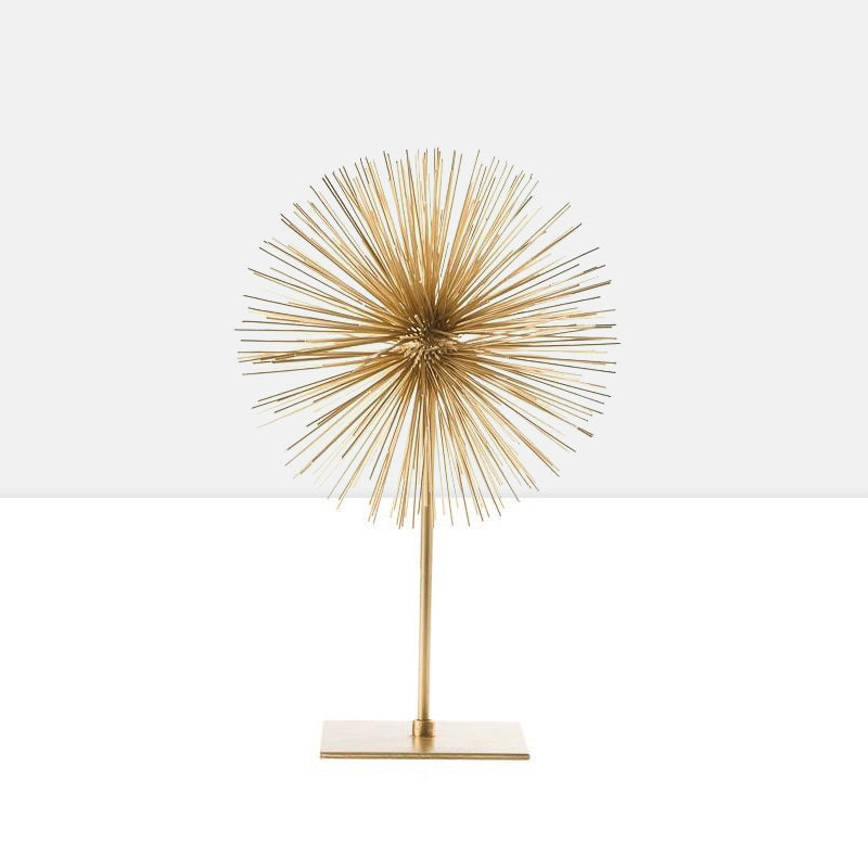 Spike Sphere Sculpture on Stand - Gold
