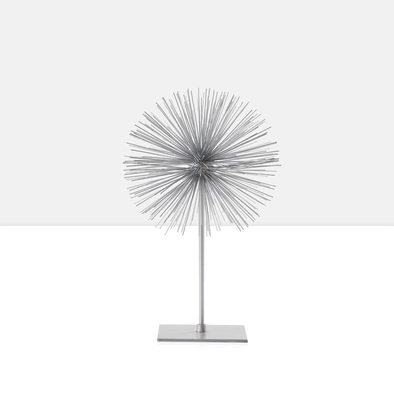 Spike Sphere Sculpture on Stand - Silver