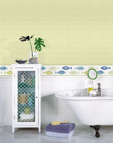 Spindrift Green Swirl Wallpaper from the Seaside Living Collection by Brewster Home Fashions