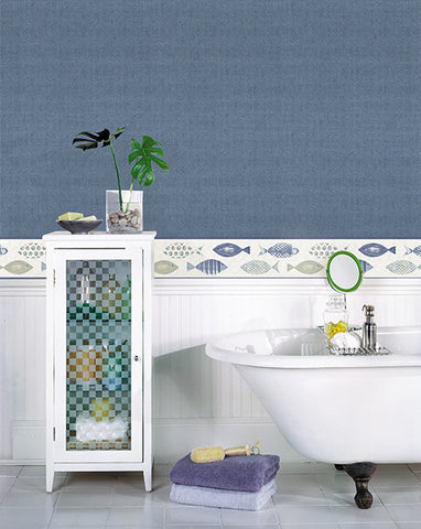 Spindrift Navy Swirl Wallpaper from the Seaside Living Collection by Brewster Home Fashions