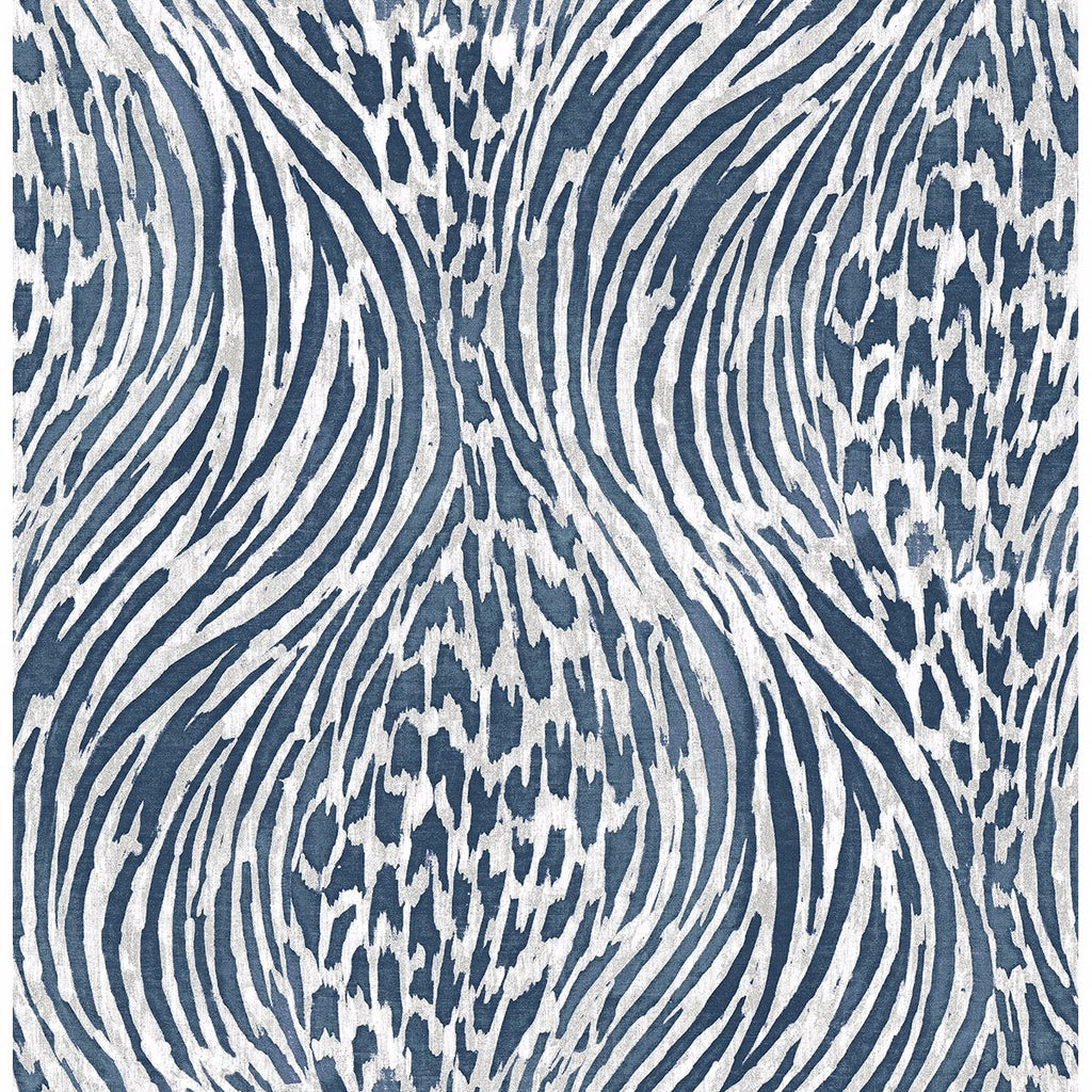 Splendid Animal Print Wallpaper in Blue from the Moonlight Collection by Brewster Home Fashions