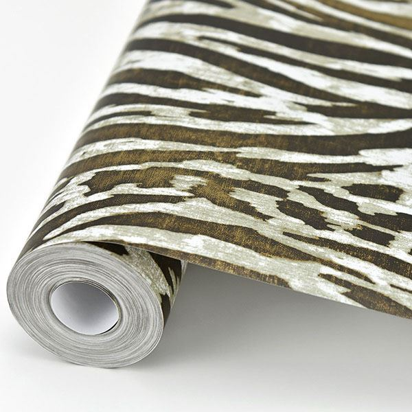 Splendid Animal Print Wallpaper in Brown from the Moonlight Collection by Brewster Home Fashions
