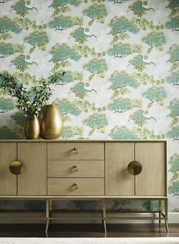 Sprig & Heron Wallpaper from the Tea Garden Collection by Ronald Redding for York Wallcoverings