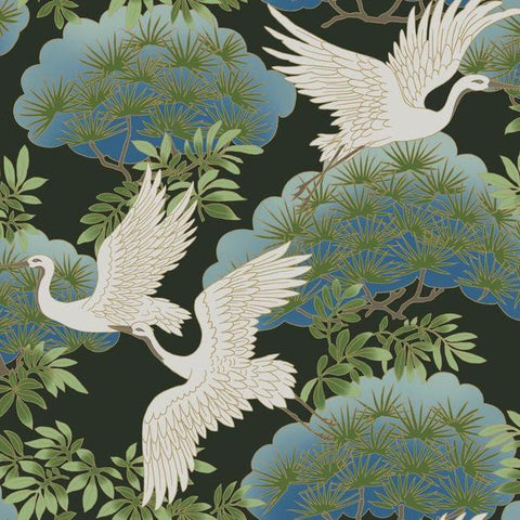 Sprig & Heron Wallpaper in Black from the Tea Garden Collection by Ronald Redding for York Wallcoverings