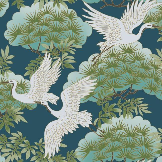 Sprig & Heron Wallpaper in Blue from the Tea Garden Collection by Ronald Redding for York Wallcoverings