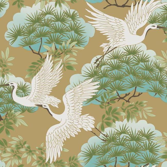 Sprig & Heron Wallpaper in Gold from the Tea Garden Collection by Ronald Redding for York Wallcoverings