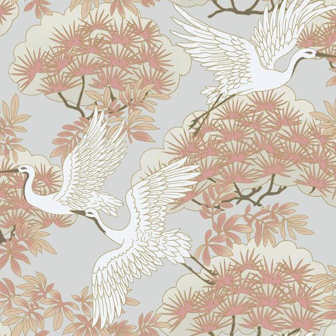 Sprig & Heron Wallpaper in Orange from the Tea Garden Collection by Ronald Redding for York Wallcoverings