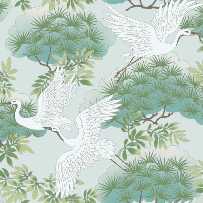 Sprig & Heron Wallpaper in Teal from the Tea Garden Collection by Ronald Redding for York Wallcoverings