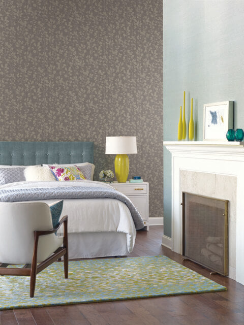 Sprig Wallpaper in Black and Grey from the Moderne Collection by Stacy Garcia for York Wallcoverings