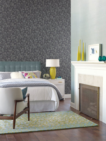 Sprig Wallpaper in Indigo from the Moderne Collection by Stacy Garcia for York Wallcoverings